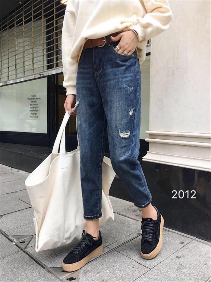 bimi2012正品2018秋款新品弹力哈伦牛仔破洞贴布简洁百搭女款垮裤