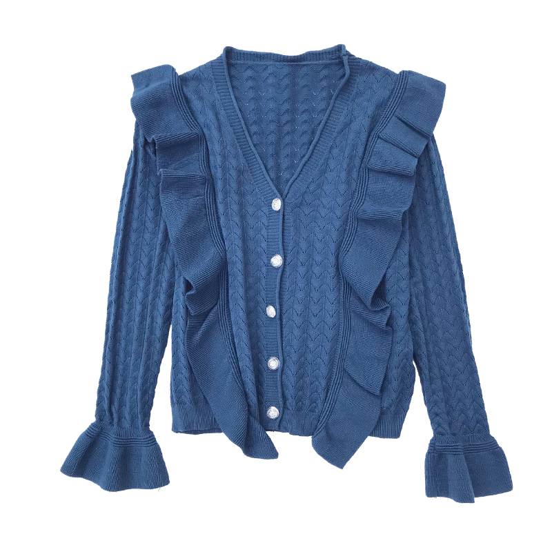 实拍 2018秋冬 条纹拼接v领荷叶边显瘦单排扣针织开衫喇叭袖
