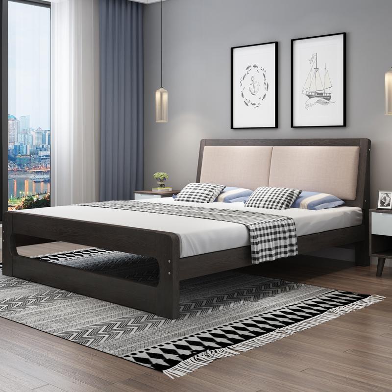 楚秀北欧实木床双人床主卧家具单人床1.5m1.8米床现代简约软包床