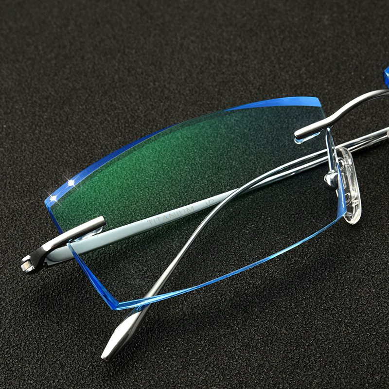 Pure titanium myopia spectacles finished mens no screw trimming frameless spectacles frame ultra light color change myopia spectacles frame