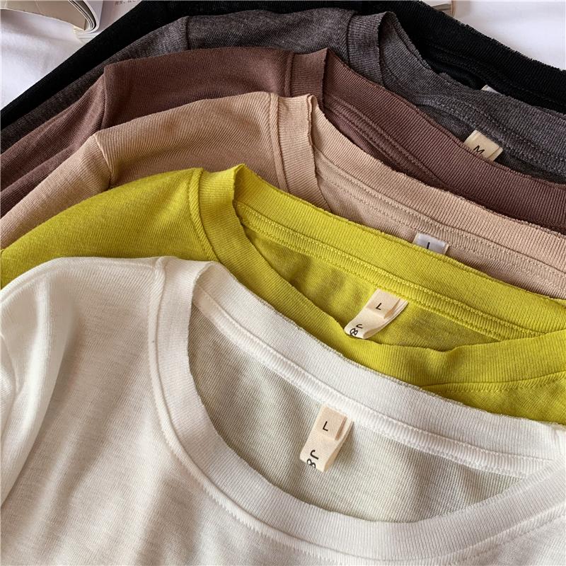 闭眼入软糯长袖T恤女秋季新款毛边轻薄圆领打底衫T恤TEE基础纯色