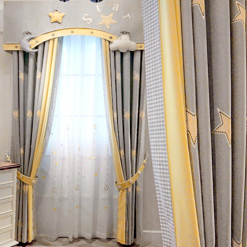 Korean childrens room boy cute cartoon bedroom floor shading heat insulation custom finished curtain bright starry sky