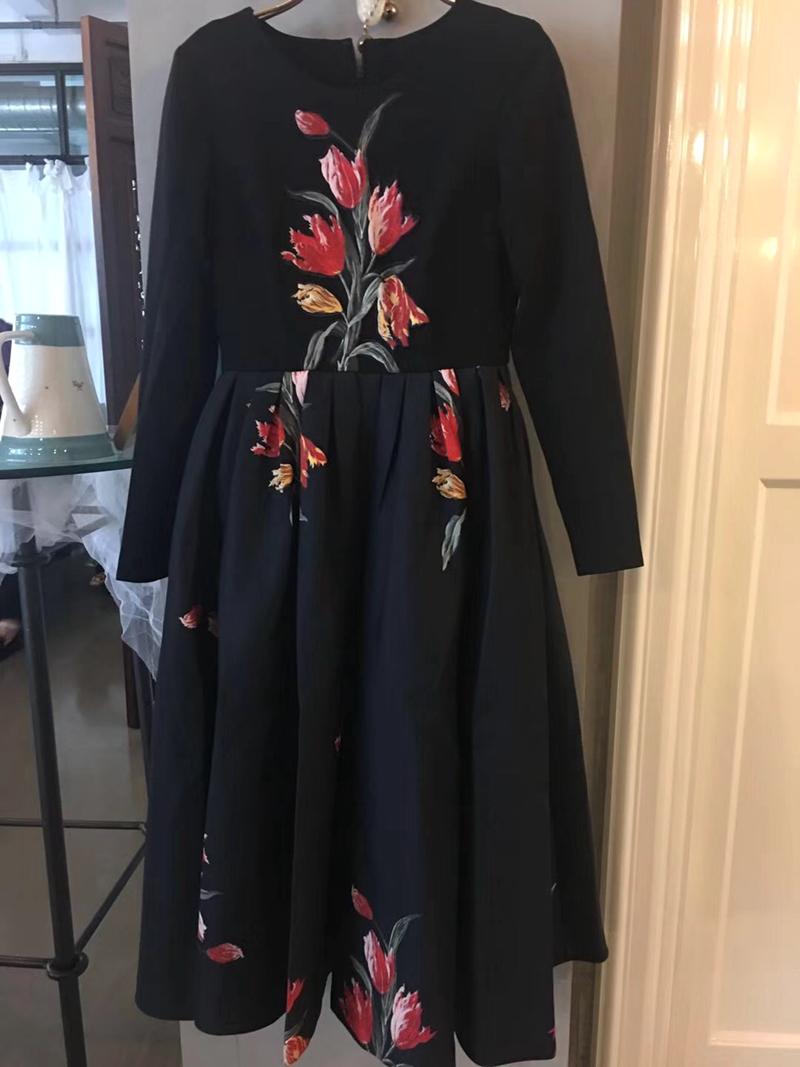FAIRYFAIR 专柜正品代购春装上新 黑色长袖郁金香连衣裙