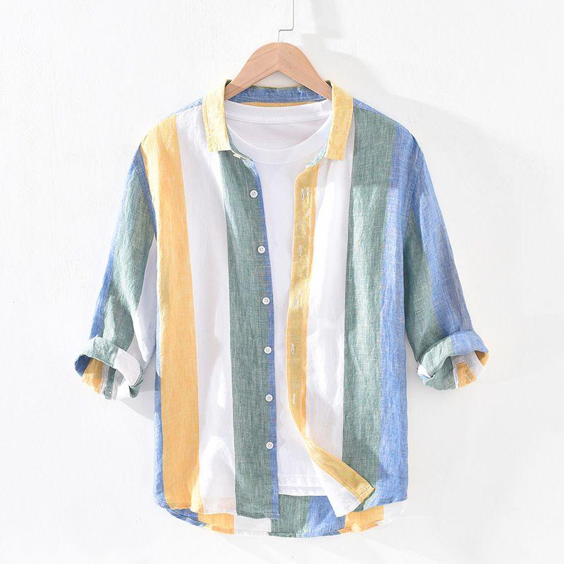 Color matching stripe Lapel Quarter Sleeve Linen Shirt Mens thin summer loose inch shirt medium sleeve casual cotton linen shirt