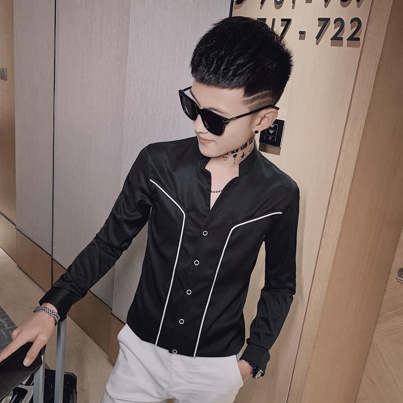 2020秋装男士长袖衬衫 时尚社会小伙寸衫发型师衬衣  A83-P55