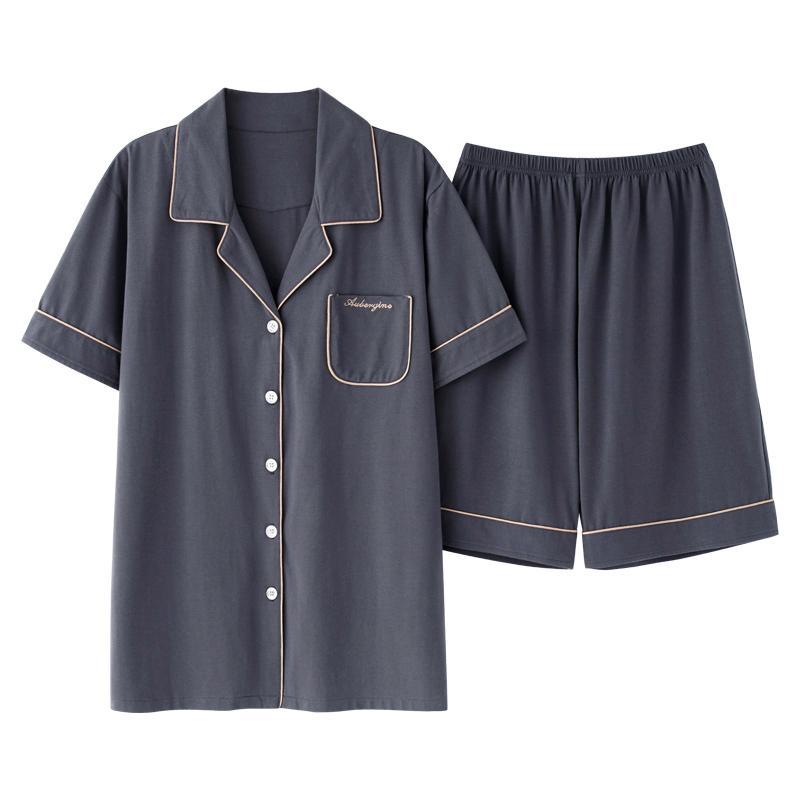猫人莫代尔睡衣男士夏薄款短袖短裤宽松大码青中年开衫家居服套装