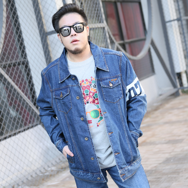 Youth personality print denim jacket jacket mens Korean super size fat denim top spring mens fashion