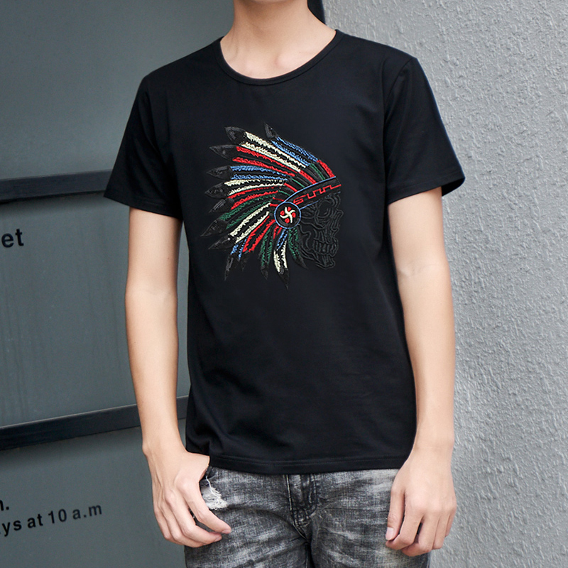 Summer mens short sleeve T-shirt trend young Indian embroidery round neck slim mens half sleeve embroidered top