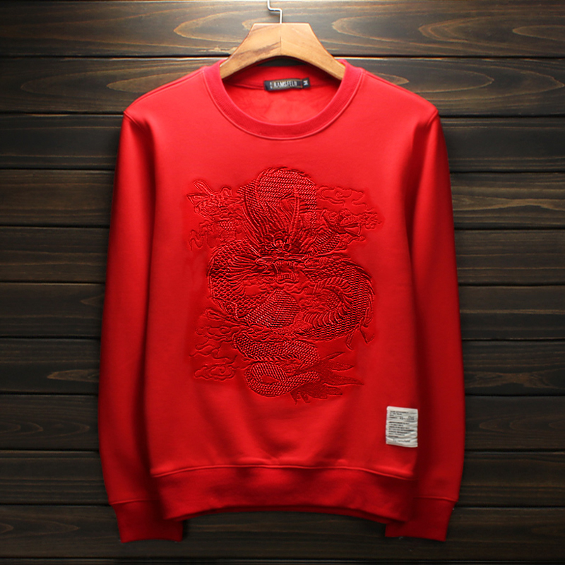 Autumn and winter mens Plush sweater fashion brand China Fenglong embroidered red coat benmingnian clothes round neck large size