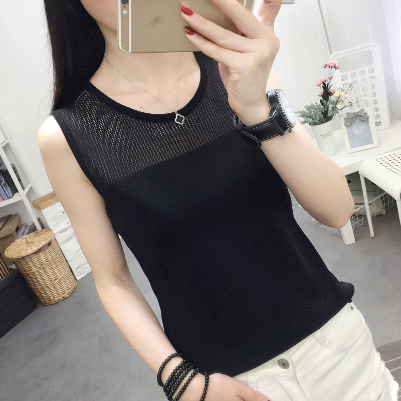 2020 vest womens new versatile sleeveless T-shirt with bottom strap top hollow loose sweater short top thin