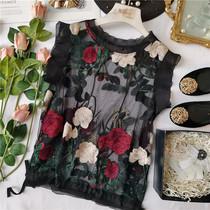 陈米米 法式浪漫 夏日香气 洋气小背心 玫瑰花蕾丝刺绣荷叶边上衣