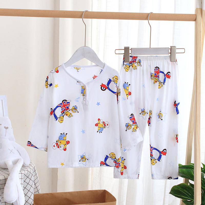夏季儿童绵绸睡衣家居服套装男女童中长袖宝宝棉绸小孩空调服薄款
