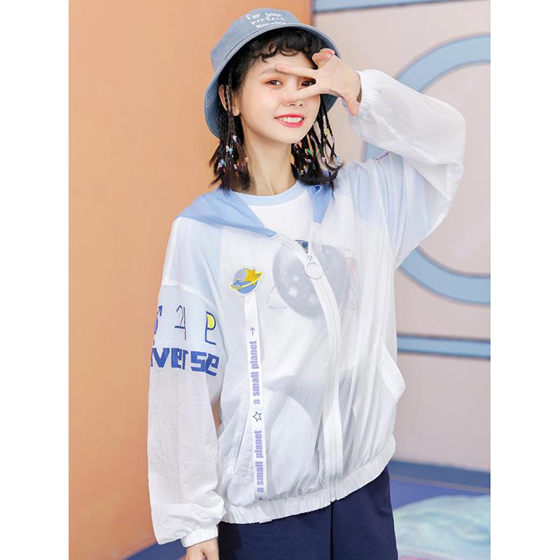 原创布衣酱防晒服女2018新款日系女装我的星空宽松长袖防晒外套女