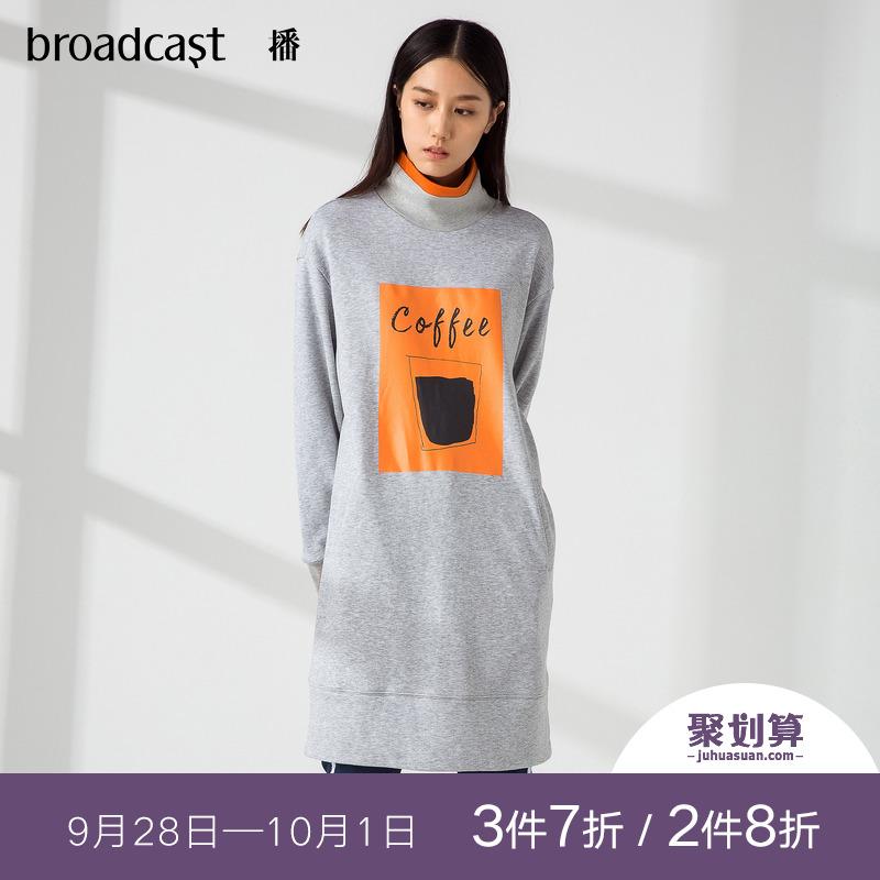 播 2018秋装新款韩版时尚趣味印花高领中长款卫衣裙女DDL3L457