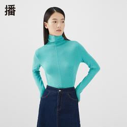 播2021秋季新款可翻高领打底修身小标针织打底衫女BDO4YD0204