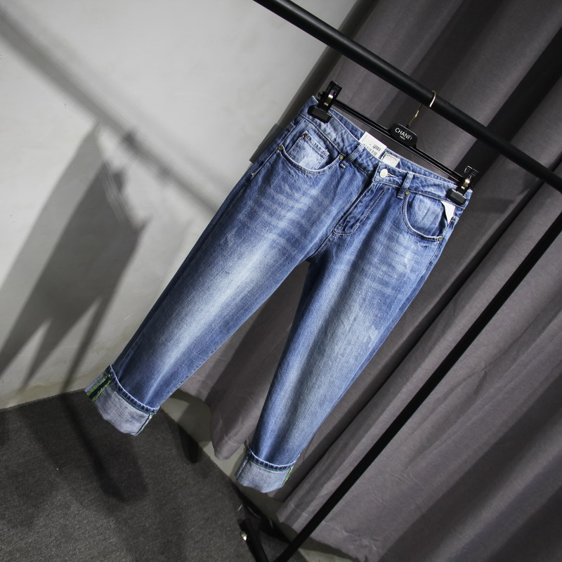 Foreign trade original single ykkl zipper re boyfriend BF denim pants Korean loose lazy womens Capri Jeans