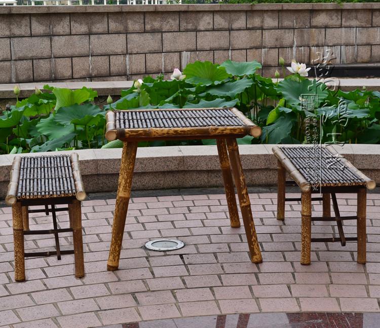 紫竹方桌复古竹桌茶楼家具农家乐餐桌实木茶水桌竹木凳