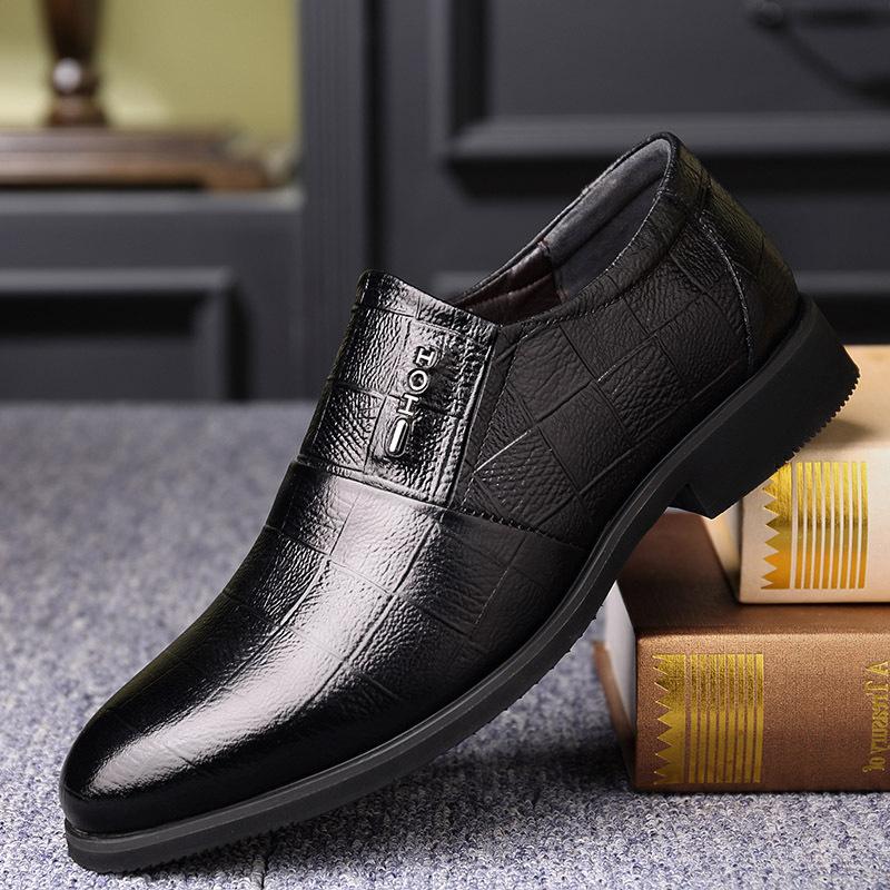 男鞋2019春季新款商务正装休闲男士英伦皮鞋男皮质透气潮鞋子