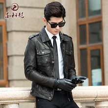 Haining locomotive leather jacket new man's short-style vegetable tanned Sheepskin Single leather jacket lapel thin leather jacket