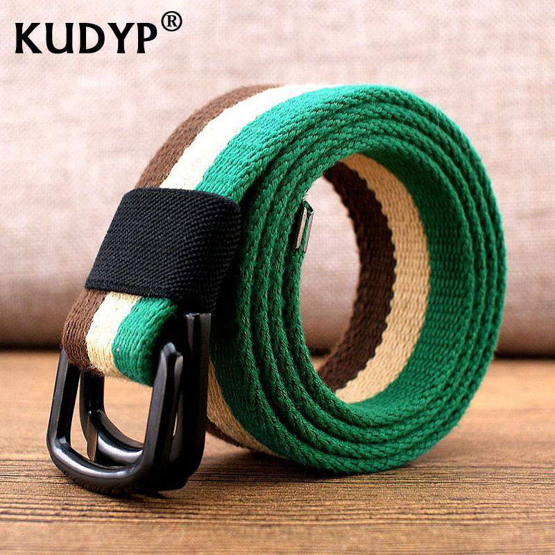Belt men and women versatile double buckle canvas belt mens fashion belt knitting belt jeans youth lengthening