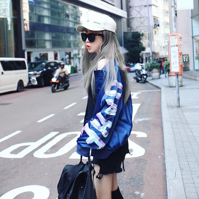 MIO潮牌2018女装新款春秋亮片字母宽松休闲棒球服蓝色薄上衣外套