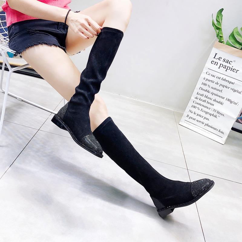 满20元可用5元优惠券韩版新款绒面水钻满钻弹力女鞋