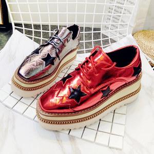 欧洲站新款漆皮五角星星厚底松糕坡跟系带布洛克休闲鞋单网红女鞋