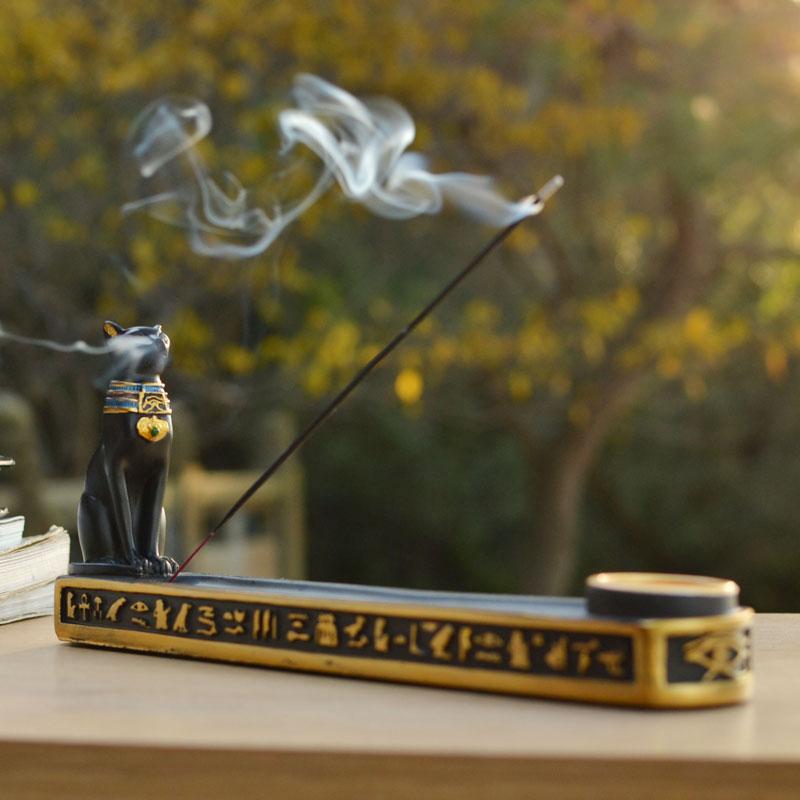 古埃及猫神贝斯特香薰炉室内家用插线香炉点粒香座器具装饰品摆件 Изображение 1