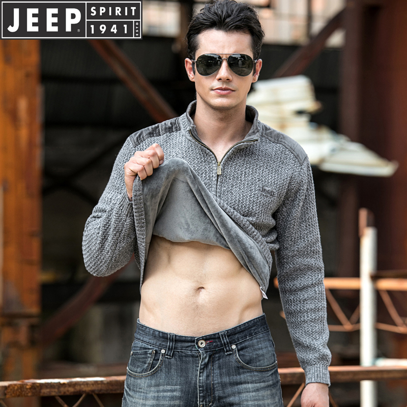 Jeep / Jeep mens fall and winter stand up pure cotton sweater with plush loose fit knitwear solid sweater