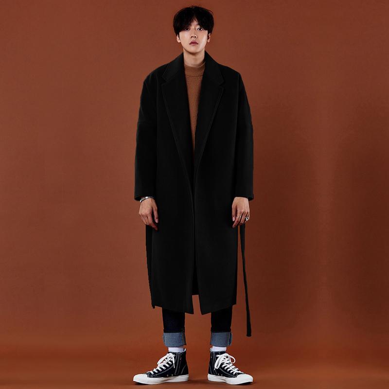 韩版羊绒风衣男超长落肩过膝毛呢大衣男大码情侣双面呢子大衣外套