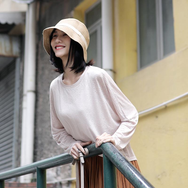 叙旧春季新款圆领条纹T恤女长袖微透舒适上衣/夏夜不眠/T2107