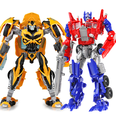 Deformation toy King Kong 5 Boy Bumblebee child police car turned into a car robot manual assembly model