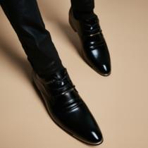 冬季商务休闲皮鞋男真皮正装英伦尖头皮鞋男韩版潮流增高加绒男鞋