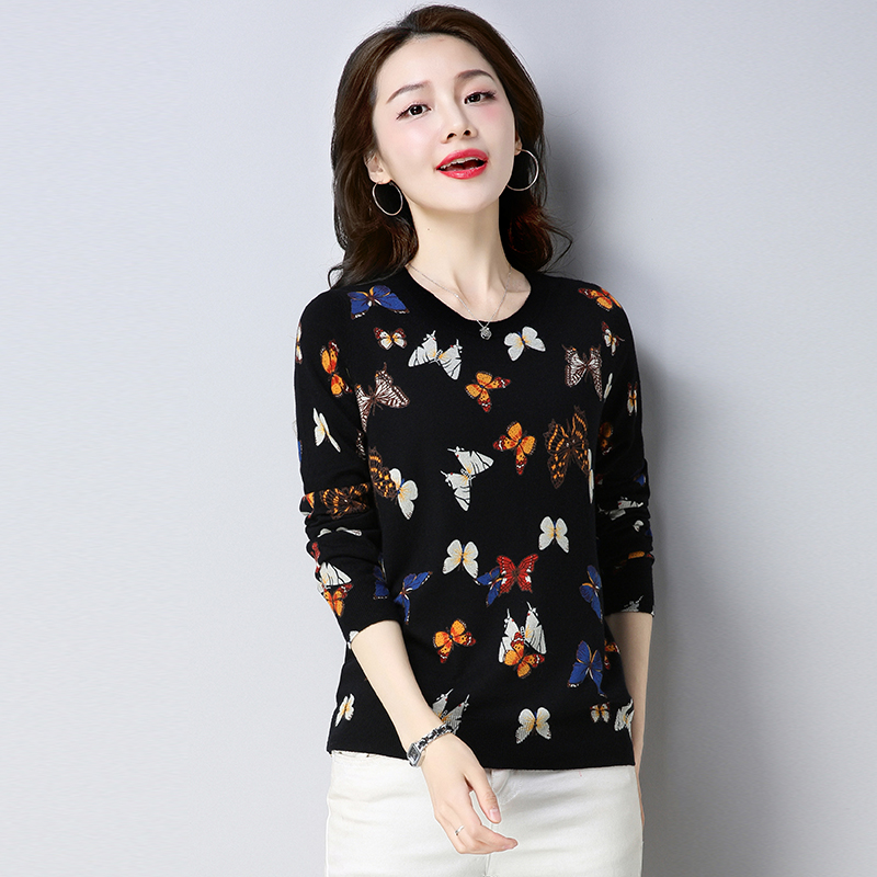 Hengyuanxiang large cashmere sweater middle-aged and elderly printed womens round neck knitted large loose thin wool sweater fashion