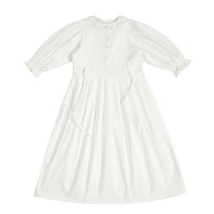 然而和風原創温柔白色赫本風連衣裙收腰顯瘦氣質新款仙女百褶桔梗