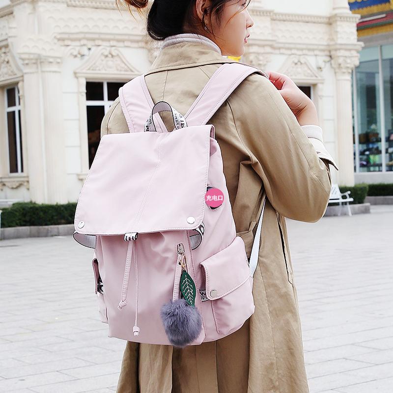 双肩包女2020新款防水尼龙少女初中学生书包学院风背包百搭大容量