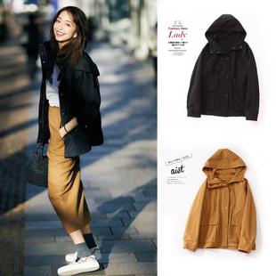 日系女装早春新款百搭薄款风衣连帽宽松工装休闲小个子长袖外套潮