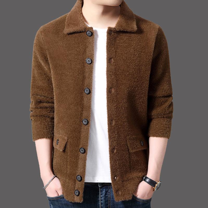 Mens flip collar mink cardigan coat winter Plush thickened warm sweater sweater mens fashion coat