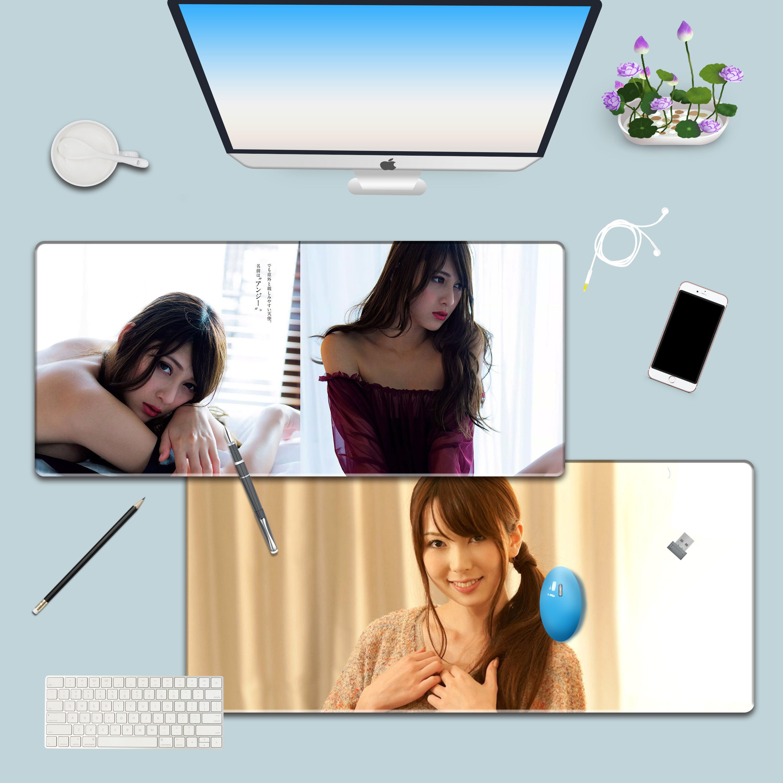 性感美女超大鼠标垫锁边 笔记本电脑游戏键盘桌垫时尚定制90*40限时2件3折