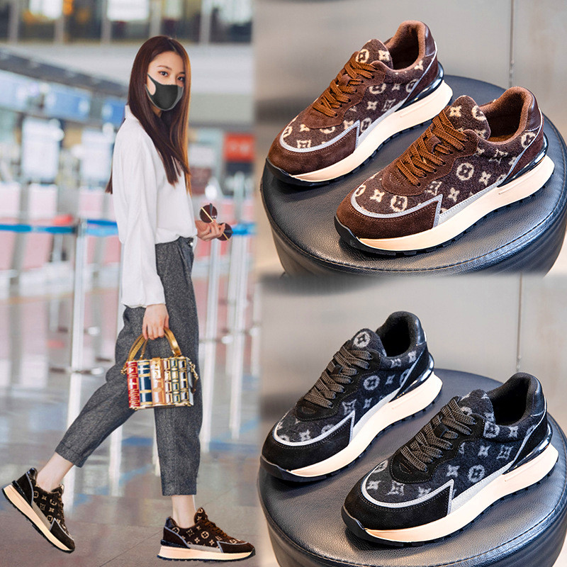 Leather casual shoes 2020 winter fashion new plush super warm net red lace up low top sports version