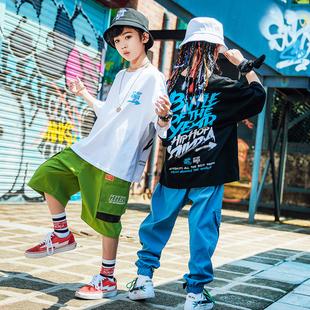尼恩家兒童街舞套裝寬鬆T恤短袖褲少兒hiphop六一演出服男童嘻哈