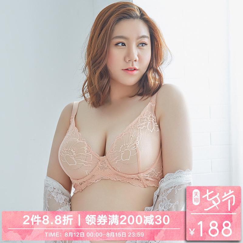 阿西娜 大码内衣女薄款深v性感蕾丝文胸胖mm聚拢200斤收副乳胸罩