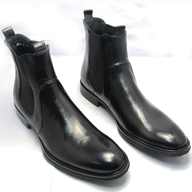 WOUFO正品男靴男士头层牛皮鞋英伦尖头高帮皮鞋正装潮靴切尔西靴