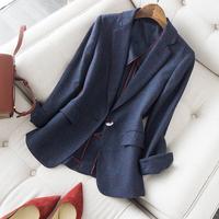 查看别致一粒扣藏青色格纹羊毛西装春季新品修身显瘦毛呢上衣外套女价格