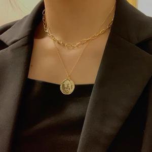 新款韩国金色双层叠戴钱币项链日韩短款百搭颈链女士锁骨链