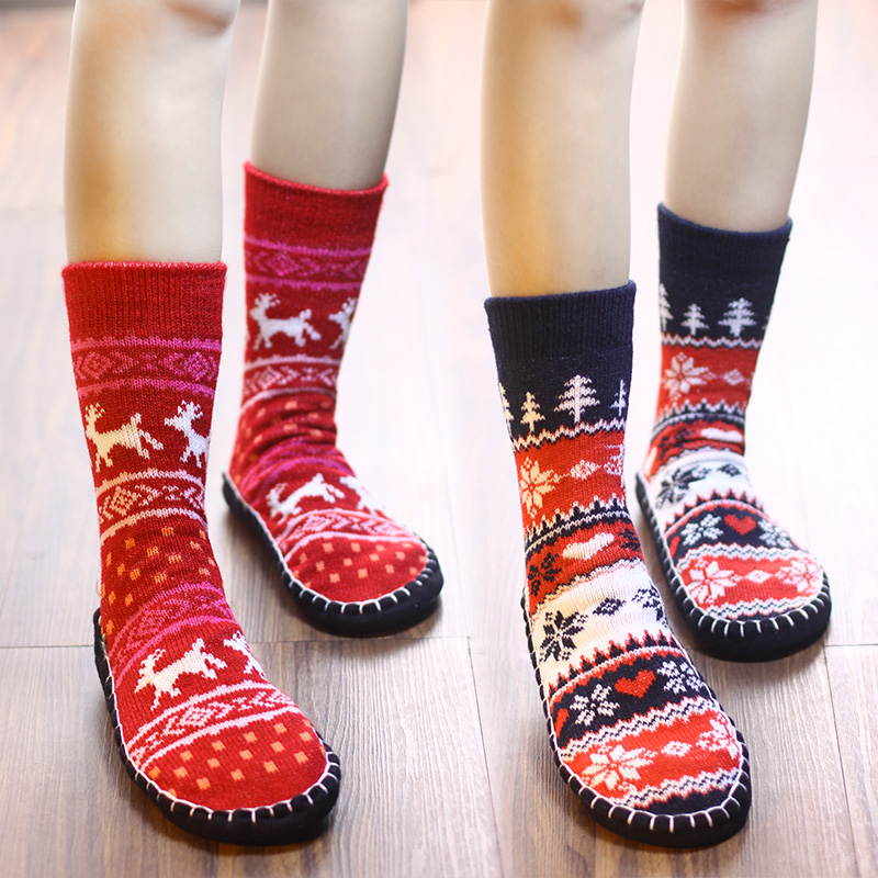 Wool cartoon floor socks antiskid thickened high top adult warm soft sole shoes and socks in winter household socks children