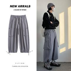 美式新款工装濶腿束脚裤 男女同款工装裤K7088p65控78