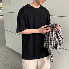 港风纯色口袋特色宽松短袖T恤t103p35控48