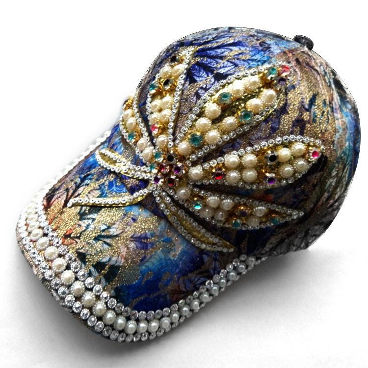 带钻帽子女春镶钻时尚潮流遮阳棒球帽韩版蕾丝亮钻手工水钻鸭舌帽