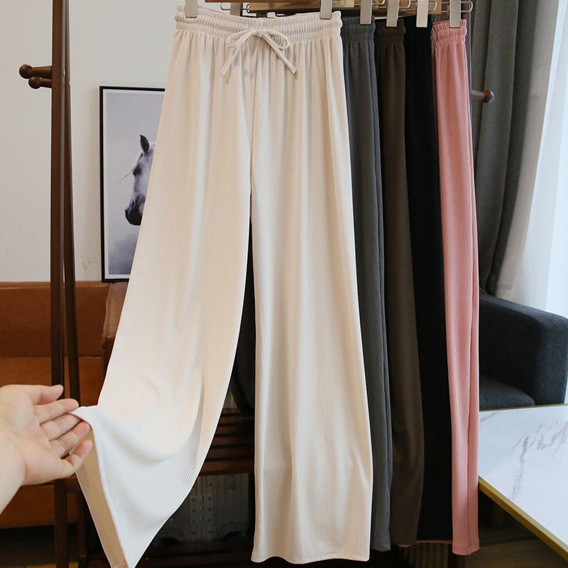 看视频~丝滑垂感~巨显瘦!白色阔腿长裤子女高腰宽松直筒裤子夏薄